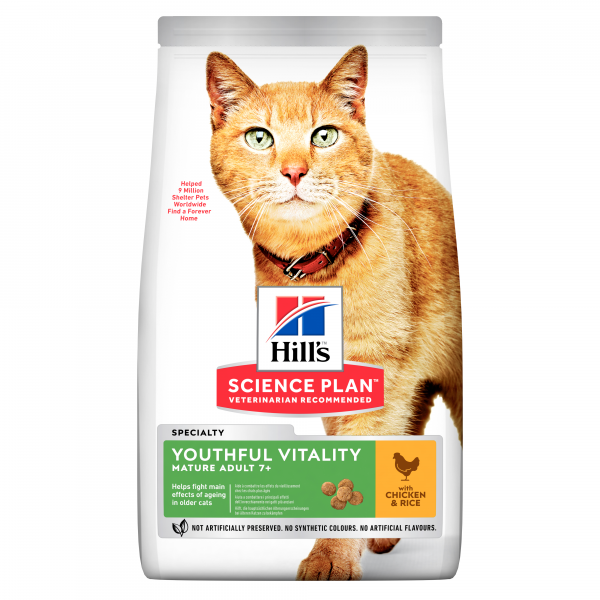 Hill's Science Plan Youthful Vitality aikuisen 7+  kissan kuivaruoka, kana 1,5 kg