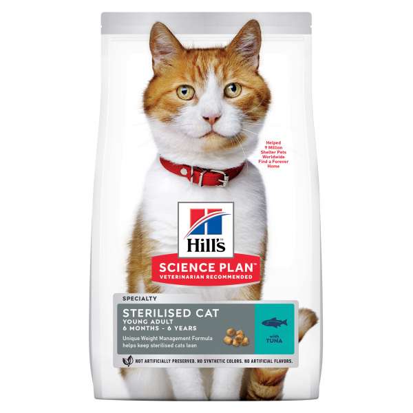 Hill's Science Plan Sterilised Cat nuoren aikuisen kissan kuivaruoka, tonnikala 3 kg