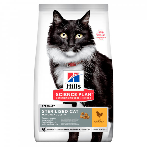 Hill's Science Plan Mature Sterilised Cat kissan kuivaruoka, kana 3 kg