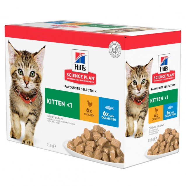 Hill's Science Plan Kitten kissan märkäruoka Multipack, kana ja merikala 12x85 g