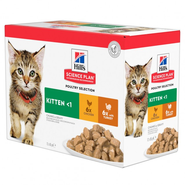 Hill's Science Plan Kitten kissan märkäruoka Multipack, kana ja kalkkuna 12x85 g