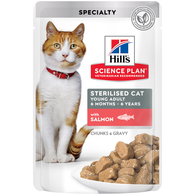 Hill's Science Plan Young Adult Sterilised Cat kissan märkäruoka, lohi 12x85 g
