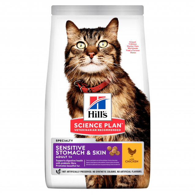 Hill's Science Plan Sensitive Stomach & Skin aikuisen kissan kuivaruoka, kana 1,5 kg