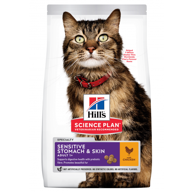 Hill's Science Plan Sensitive Stomach & Skin aikuisen kissan kuivaruoka, kana 7 kg