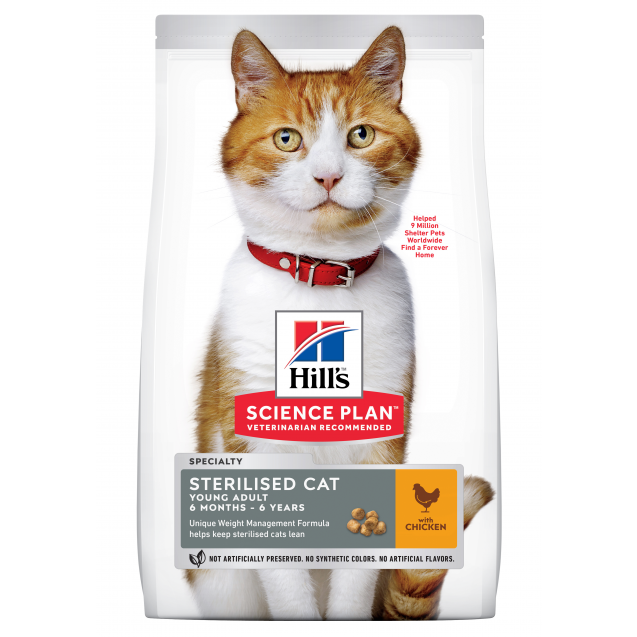 Hill's Science Plan Sterilised Cat nuoren aikuisen kissan kuivaruoka, kana 3 kg